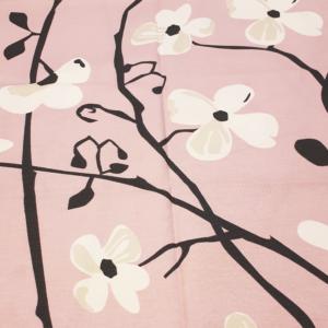 vaaleanpunainen kukkapuuvillakangas
